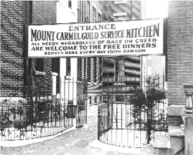 The Mt. Carmel Guild Soup Kitchen was established in the basement of St. Patrick's Pro-Cathedral in Newark to serve meals to people in need. The soup kitchen closed in late 1941 after having prepared more than 1,632,000 meals.